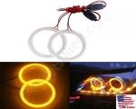 New Amber Size 70mm Super Bright 60SMD COB LED Halo Ring Angel Eyes Led Car Headlight 12V DC