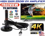 NEW Indoor Digital TV HDTV Antenna 25DBi High Gain Up to 200 Miles Magnetic Stand Base 1080P 4K UHF/VHF With USB Powered Amplifier